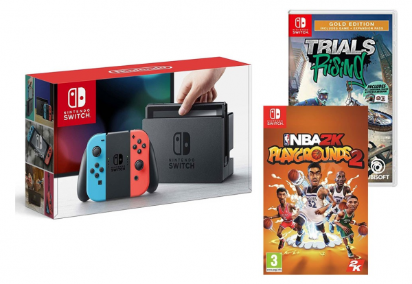 NINTENDO SWITCH RED/BLUE + 2 GAMES