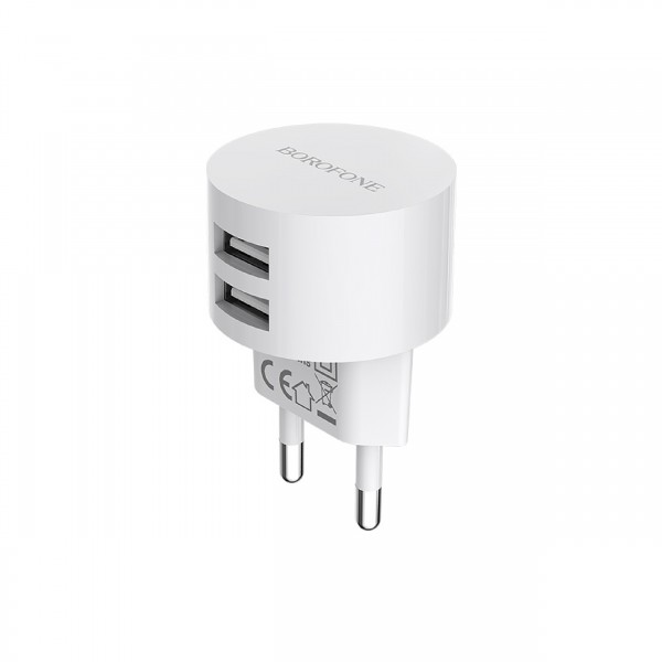BOROFONE DUAL PORT CHARGER WITH TYPE-C CABLE WHITE