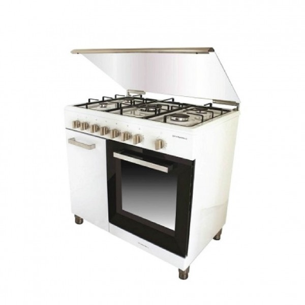 CAMPOMATIC COOKER BOTTLE 90CM BRASS BURNERS WHITE