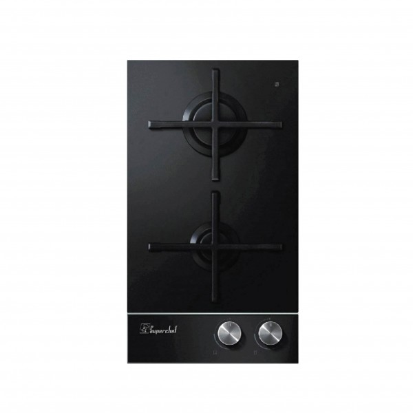 SUPER CHEF HOB DOMINO 30CM 2 GAS BLACK