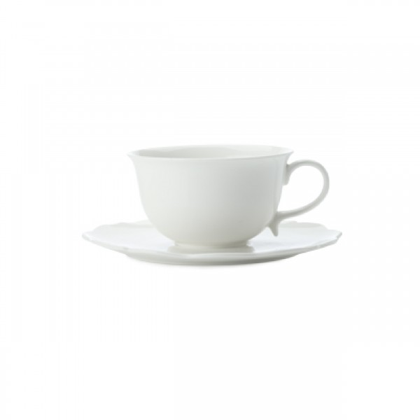MW WHITE BASICS WHITE ROSE CUP & SAUCER 230ML