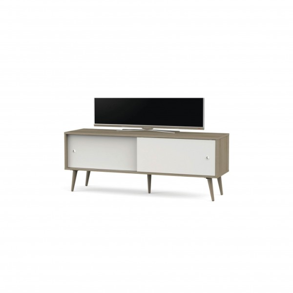 SONOROUS WOODEN TABLE 2 SLIDING  DOORS WITH  SHELVES WHITE