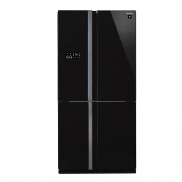 SHARP REFRIGERATOR 4 DOORS 26CF BLACK GLASS SUPREME