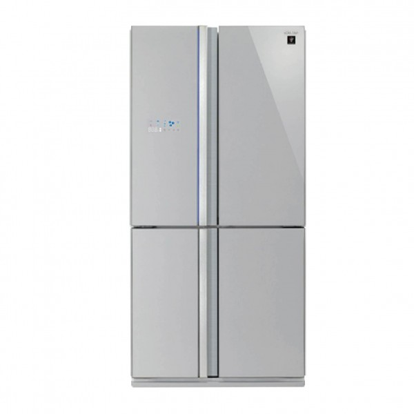 SHARP REFRIGERATOR 4 DOORS 26CF SILVER GLASS SUPREME