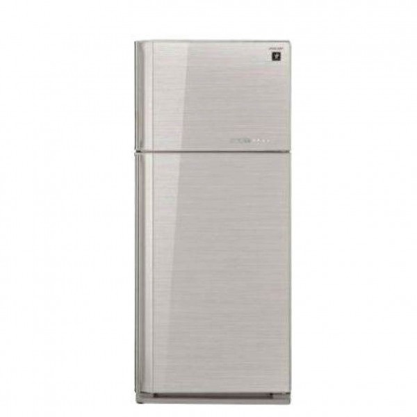 SHARP REFRIGERATOR 2 DOORS 27CF GLASS SILVER