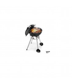 """Portable Charcoal Bbq  17"""" Kettle With Wheels"""