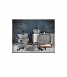 Falez Cooking Set Of 10 Pcs Granite Grey
