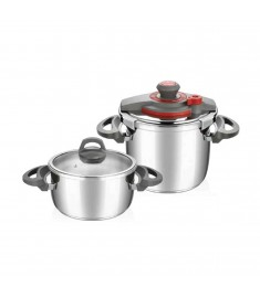 Falez Pressure Cooker Set Of 2 Pcs 6L + 9L Stainless Steel