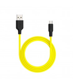 HOCO X21 PLUS SILICONE CHARGING CABLE TYPE-C - BLACK&YELLOW