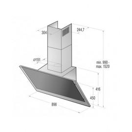 GORENJE WALL MOUNTED HOOD 90CM STAINLESS&BLACK WHI-943A3XGB