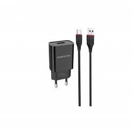 BOROFONE SINGLE PORT CHARGER SET WITH LIGHTNING CABLE BLACK