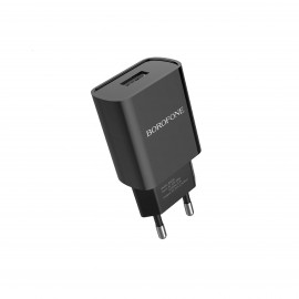 BOROFONE SINGLE PORT CHARGER SET WITH TYPE C CABLE BLACK