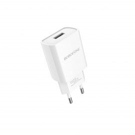 BOROFONE SINGLE PORT CHARGER SET WITH TYPE C CABLE WHITE