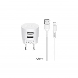 BOROFONE DUAL PORT CHARGER WITH LIGHTNING CABLE WHITE