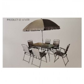 Patio Dining Set Florence - Grey - 6 Folding Chairs