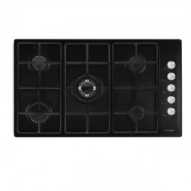 GLEM GAS HOB 90CM 4GAS+1DB IGNITION BLACK WITH SAFETY