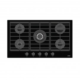 GORENJE HOB 90CM 4GAS +1DB GLASS BLACK WITH SAFETY CAST IRON