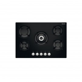 G.GAS HOB 70CM 5GAS GLASS COST IRON BLACK