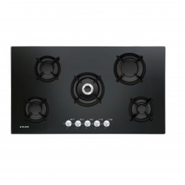 G.GAS HOB 90CM 5 BURNERS CRYSTAL CAST IRON SAFETY  GAS BLACK