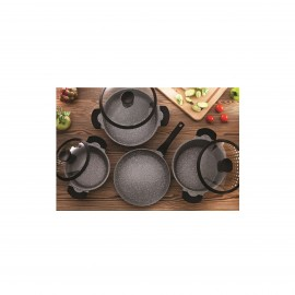 Falez Cooking Set Of 7 Pcs Granite Granistone