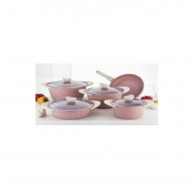 Falez Doa Cast Cooking Set Of 9 Pcs Granite Pinky