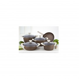 Falez Cooking Set Of 9 Pcs Granite Brown