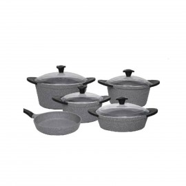 Falez Cooking Set Of 9 Pcs Granite Grey