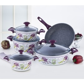 Falez Cooking Set Of 9 Pcs Granite lavander