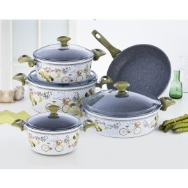 Falez Cooking Set Of 9 Pcs Granite Florabike