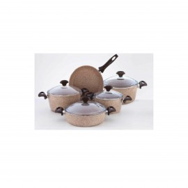 Falez Cooking Set Of 9 Pcs Granite Beige