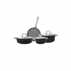 Falez Cooking Set Of 7 Pcs Granite Black
