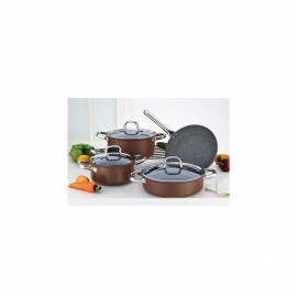 Falez Cooking Set Of 7 Pcs Granite Copper
