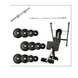 New Fitness Line Bench + Axe + Chrome Screw Bar+ Rubber Plates