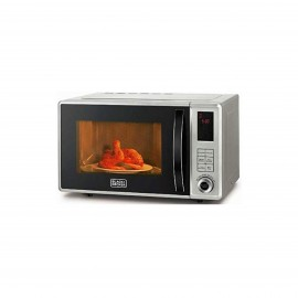 BLACK & DECKER MICROWAVE 800 W 23 L WITH GRILL SILVER